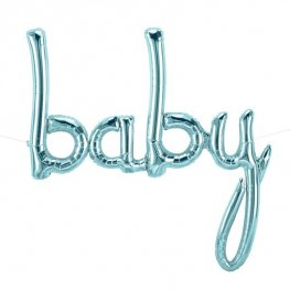 "46"" Baby Script Pastel Blue Air Fill Balloons Banner"