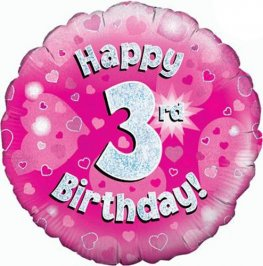 "18"" Happy 3rd Birthday Pink Holographic Balloons"
