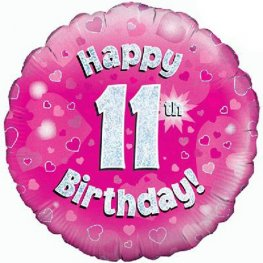 "18"" Happy 11th Birthday Pink Holographic Balloons"