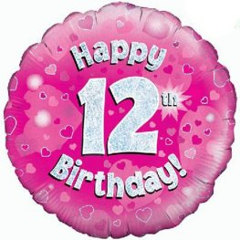 "18"" Happy 12th Birthday Pink Holographic Balloons"
