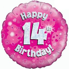 "18"" Happy 14th Birthday Pink Holographic Balloons"