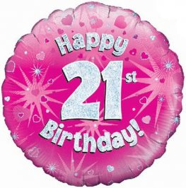 "18"" Happy 21st Birthday Pink Holographic Balloons"