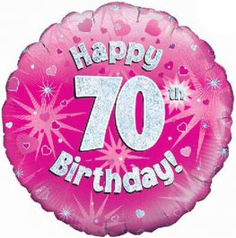 "18"" Happy 70th Birthday Pink Holographic Balloons"