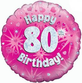 "18"" Happy 80th Birthday Pink Holographic Balloons"