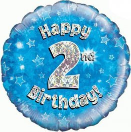 "18"" Happy 2nd Birthday Blue Holographic Balloons"