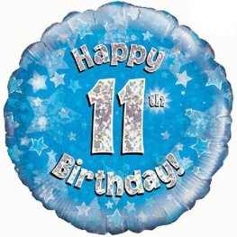"18"" Happy 11th Birthday Blue Holographic Balloons"