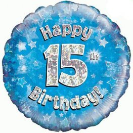 "18"" Happy 15th Birthday Blue Holographic Balloons"
