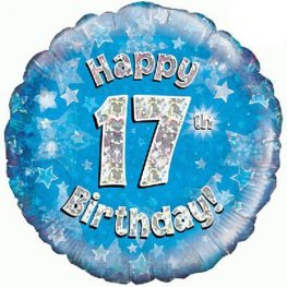 "18"" Happy 17th Birthday Blue Holographic Balloons"