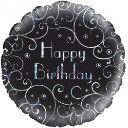 "18"" Happy Birthday Black Swirls Foil Balloons"
