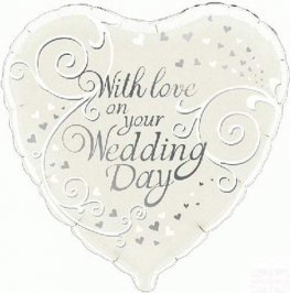 "18"" With Love On Your Wedding Day Foil Balloons"