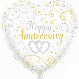"18"" Happy Anniversary Linked Hearts Foil Balloons"