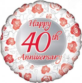 "18"" Happy 40th Ruby Anniversary Foil Balloons"