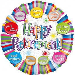 "18"" Happy Retirement Speech Bubbles Foil Balloons"