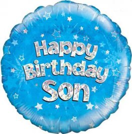 "18"" Happy Birthday Son Holographic Foil Balloons"