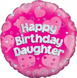 "18"" Happy Birthday Daughter Holographic Foil Balloons"