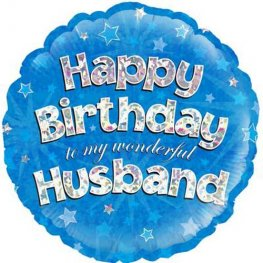"18"" Happy Birthday Husband Holographic Foil Balloons"