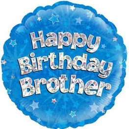 "18"" Happy Birthday Brother Holographic Balloons"