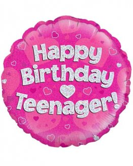 "18"" Happy Birthday Teenager Pink Holographic Balloons"