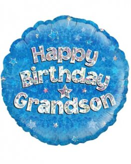 "18"" Happy Birthday Grandson Blue Holographic Balloons"