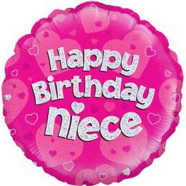 "18"" Happy Birthday Niece Pink Holographic Foil Balloons"