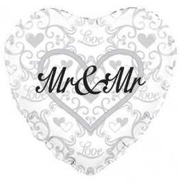 "18"" Mr And Mr Heart Shape Foil Balloons"