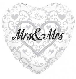 "18"" Mrs And Mrs Heart Shape Foil Balloons"