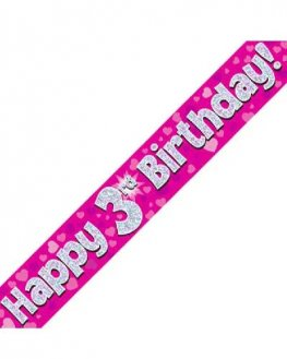 Happy 3rd Birthday Pink Holographic Banner
