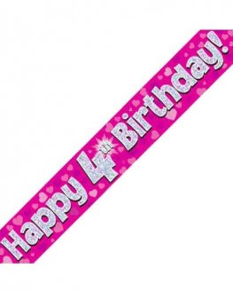 Happy 4th Birthday Pink Holographic Banner