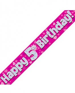 Happy 5th Birthday Pink Holographic Banner