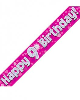 Happy 9th Birthday Pink Holographic Banner