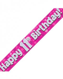 Happy 11th Birthday Pink Holographic Banner