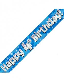 Happy 4th Birthday Blue Holographic Banner