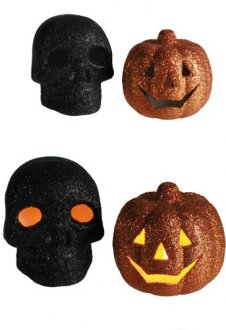 Flickering Glitter Skull And Pumpkin