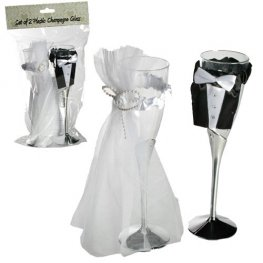 Bride And Groom Plastic Champagne Glasses