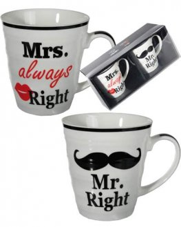 Mr And Mrs Right Porcelain Mugs Set