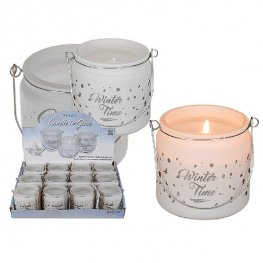Wintertime White Glass Candle
