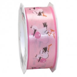 20m Light Pink Storks Wide Ribbon