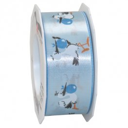 20m Light Blue Storks Wide Ribbon