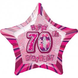 "20"" Happy 70th Birthday Pink Glitz Foil Balloons"