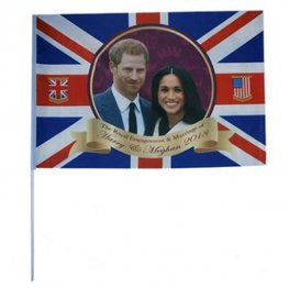Royal Couple Rayon Flag With Stick