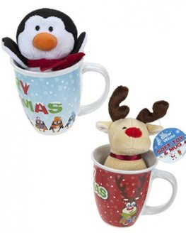 Plush Xmas Toy In Mug x1