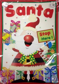 Santa Stop Here Window Sticker