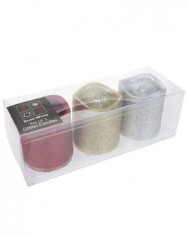 Set Of 3 Glitter Candles