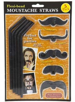 Flexi Bend Moustache Straws 5pc