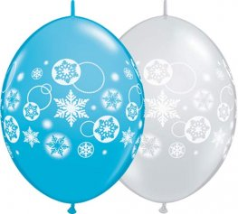 "12"" Snowflakes And Circles Quick Link Balloons 50pk"