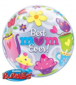 "22"" Best Mum Ever Tea Time Single Bubble Balloons"