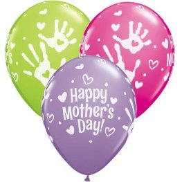 "11"" Mothers Day Handprints Latex Balloons 25pk"