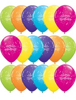 "11"" Birthday Shining Star Latex Balloons 50pk"