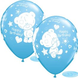 "11"" Pale Blue Tatty Teddy Birthday Latex Balloons 25pk"