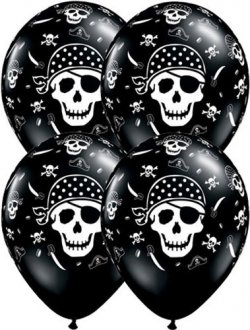"11"" Pirate Skull Cross Bones Latex Balloons 50pk"